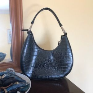 Handbags - Black Croc Med Size Tailored Hobo Shaped Bag. Used